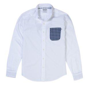 男裝PLEASANT RIVER 单胸袋纯色牛津纺修身长袖衬衫