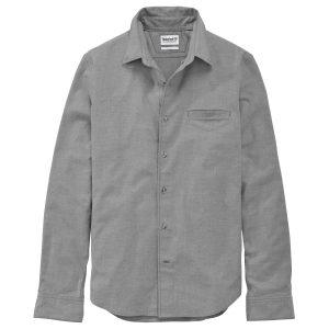 男裝BACK RIVER 隐藏式口袋,纯色修身法兰绒长袖衬衫