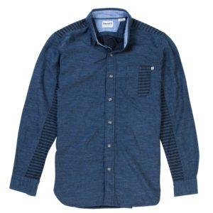男裝轻质靛蓝图案长袖衬衫