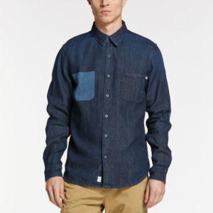 男裝MUMFORD RIVER撞色细部修身牛仔长袖衬衫