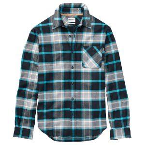 男裝LS BACK RIVER厚法兰绒格纹长袖衬衫(标准)