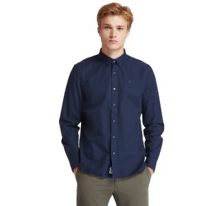 ELA RIVER牛津纺纯色修身长袖 衬衫
