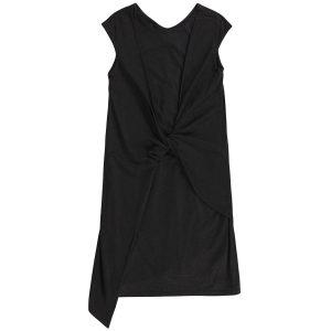 女裝前身打结垂褶汗布连衣裙