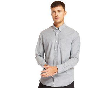 长袖PLEASANT RIVER弹性 牛津纺衬衫
