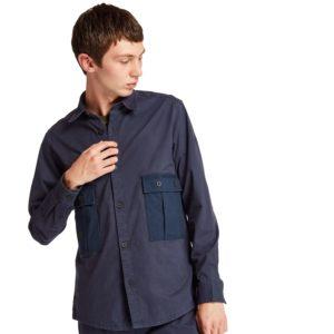 SMITH RIVER 长袖府绸和弹性防撕裂面料拼接工装外套式衬衫