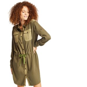 军事风衬衫式连衣裙