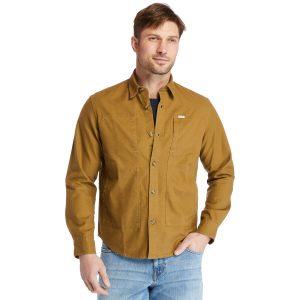 轻质混合面料长袖外套式衬衣(宽大)