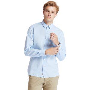 EASTHAM RIVE弹性府绸纯色长袖衬衣 (贴身)